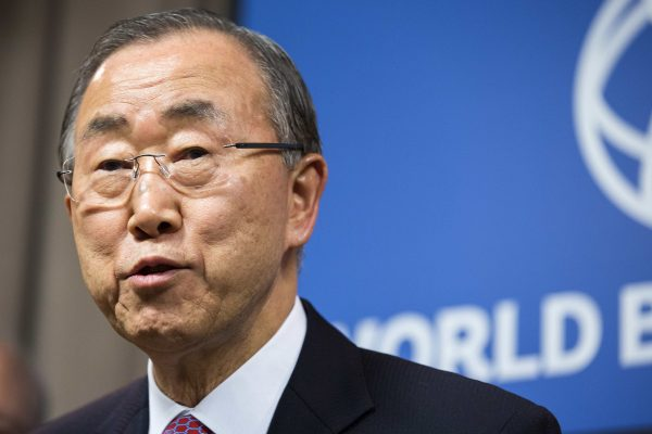 United Nations Secretary-General Ban Ki-moon speaks to the media after the UN Chief Executive Board's private session on the Ebola response in Washington November 21, 2014.      REUTERS/Joshua Roberts    (UNITED STATES - Tags: POLITICS HEALTH)