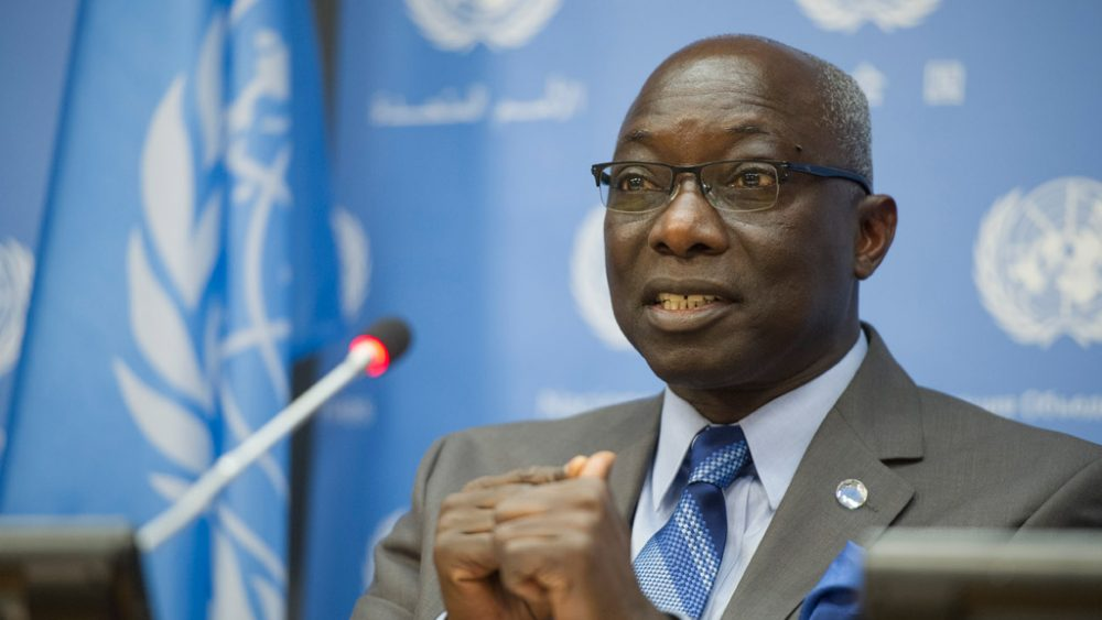 Special Adviser on the Prevention of Genocide Adama Dieng briefs the press. UN Photo/Amanda Voisard
