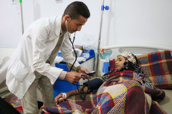On 30 May 2017 at the Al Sab'een Hospital in Sana'a, Yemen, a doctor checks on a girl suffering from cholera.  Over 69,559 suspected cases of diarrhea have been reported so far across Yemen with 578 deaths as at 1 June 2017.  In the last 24 hours alone, the numbers of suspected cholera cases have gone up from 65,300 to over 69,559 across Yemen. An average of 1100 children suffering from acute watery diarrhea are reporting to health facilities every day for the past two weeks across the war-torn country. In the last four weeks, the disease has claimed at least 578 lives of which nearly 40 per cent are children.  The collapse of the water and sanitation system, barely functional hospitals and cash stripped economy means that 27.7 million Yemenis are staring at an unforgiving humanitarian catastrophe. There is a shortage of doctors and nursing staff, many of whom haven't been paid for months as well as a shortage of medicines and IV fluid.  UNICEF has flown in three aircrafts carrying over 41 tons of lifesaving supplies including medicines, oral rehydration salts, diarrhea disease kits, intravenous fluids that will treat over 50,000 patients. Over one million people across the country have been reached by disinfecting water tanker filling stations, chlorinating drinking water, disinfecting groundwater wells, cleaning water storage reservoirs at public and private locations, providing household water treatments and distributing hygiene consumables kits.