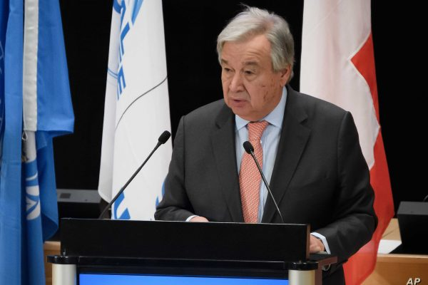 UN Secretary-General Antonio Guterres delivers a statement during the UNHCR - Global Refugee Forum at the European headquarters of the United Nations in Geneva, Switzerland, Tuesday, Dec. 17, 2019. (Fabrice Coffrini/Pool Photo via AP)